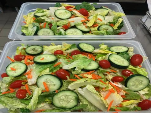 large tossed salads served in elementary schools